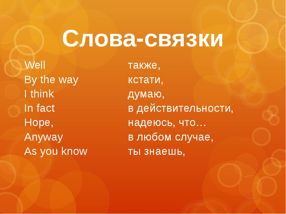 Слова-связки Well By the way I think In fact Hope, Anyway As you know также,...