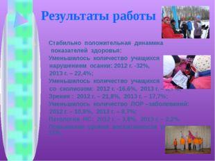 Результаты работы Стабильно положительная динамика показателей здоровья: Уме