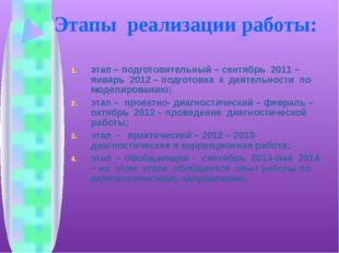 Этапы реализации работы: этап – подготовительный – сентябрь 2011 – январь 201