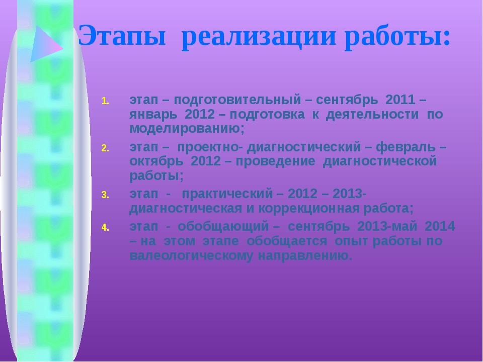 Этапы реализации работы: этап – подготовительный – сентябрь 2011 – январь 201...