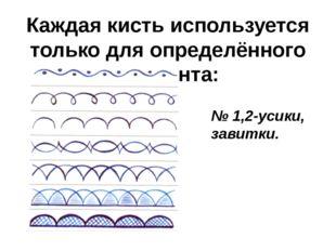 Каждая кисть используется только для определённого элемента: № 1,2-усики, зав