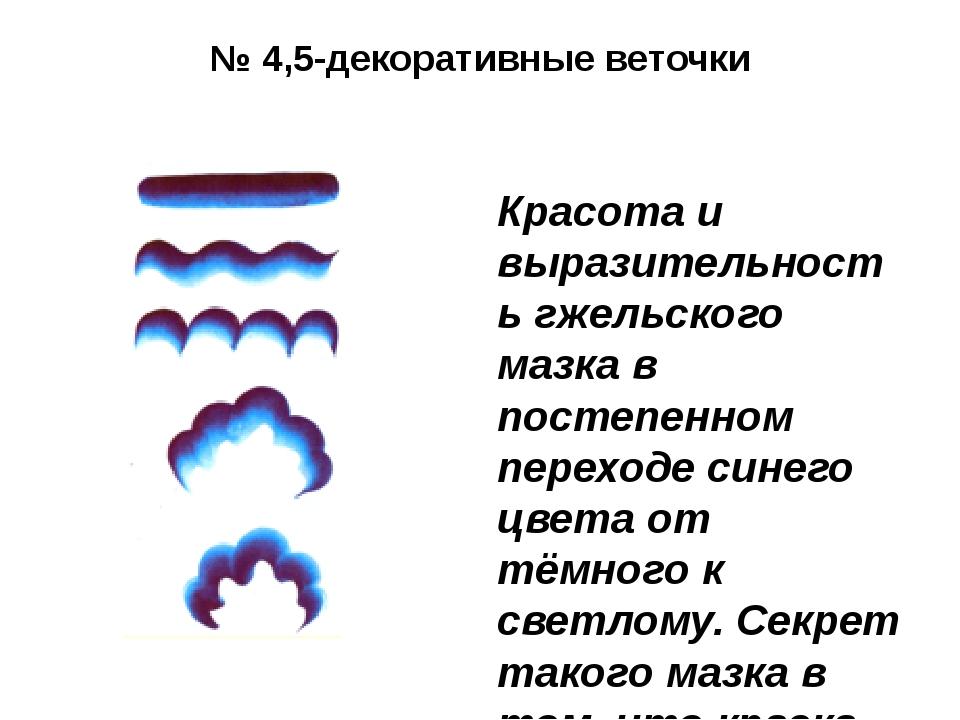№ 4,5-декоративные веточки Красота и выразительность гжельского мазка в посте...