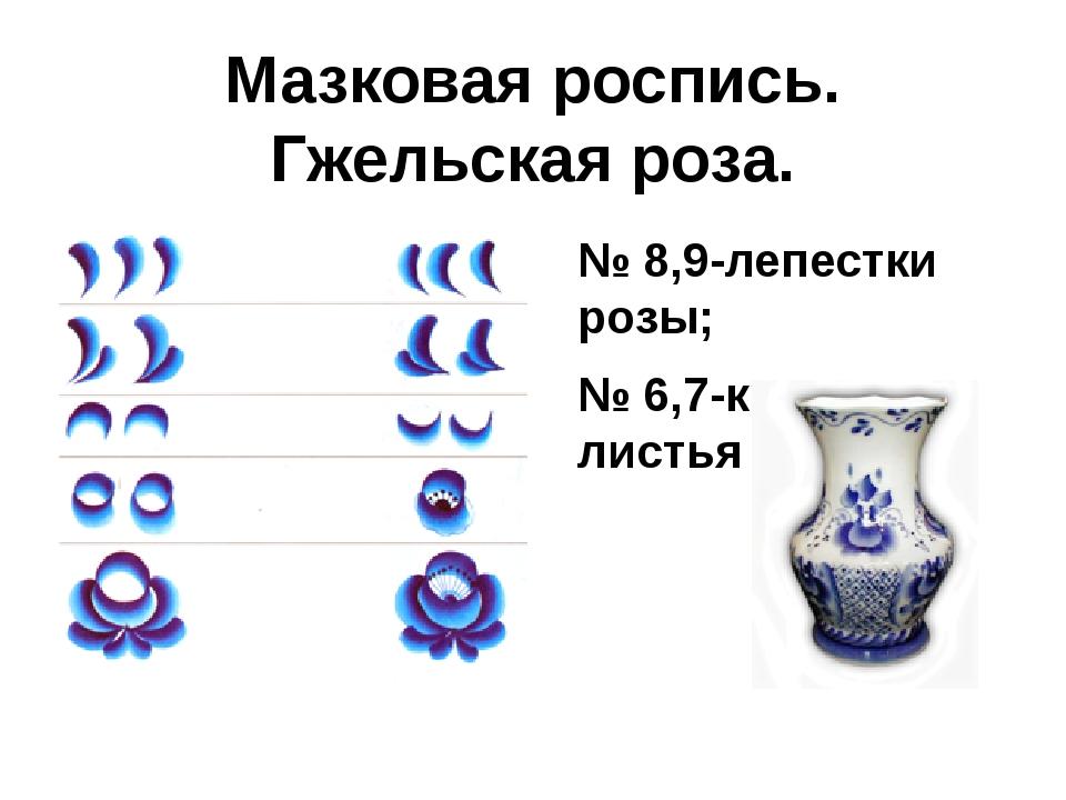 Мазковая роспись. Гжельская роза. № 8,9-лепестки розы; № 6,7-крупные листья