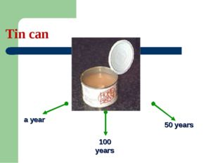 Tin can a year 100 years 50 years