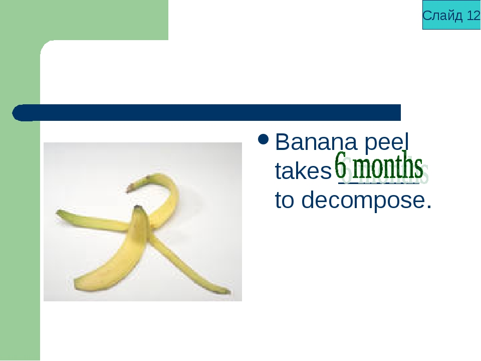 Banana peel takes ______ to decompose. Слайд 12
