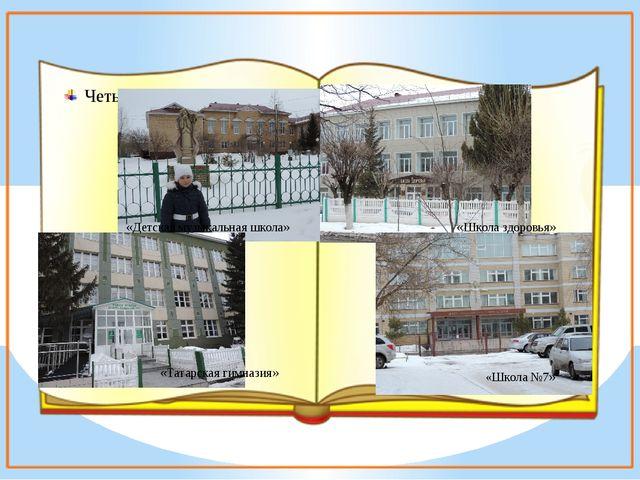 Четыре школы; «Детская музыкальная школа» «Татарская гимназия» «Школа здоровь...