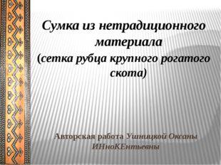 Авторская работа Ушницкой Оксаны ИНноКЕнтьевны Сумка из нетрадиционного матер