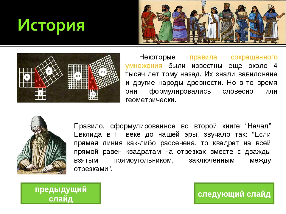 Некоторые правила сокращенного умножения были известны еще около 4 тысяч лет...