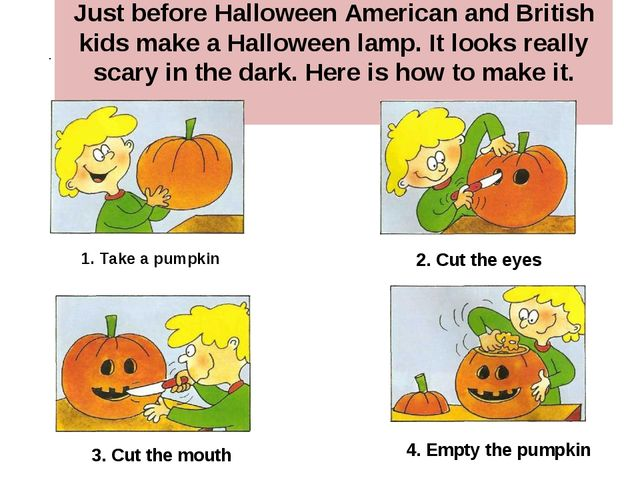 Just before Halloween American and British kids make a Halloween lamp. It loo...