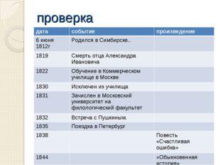 проверка датасобытиепроизведение 6 июня 1812гРодился в Симбирске.. 1819С