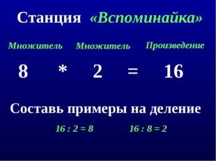 Станция «Вспоминайка» 8 * 2 = 16 Множитель Множитель Произведение Составь при