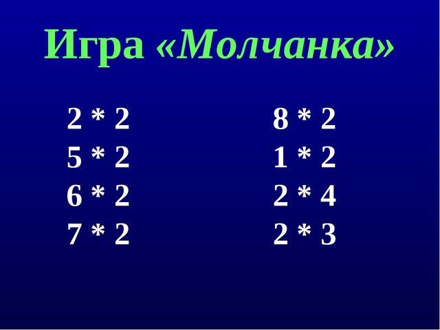 Игра «Молчанка» 2 * 2 8 * 2 5 * 2 1 * 2 6 * 2 2 * 4 7 * 2 2 * 3