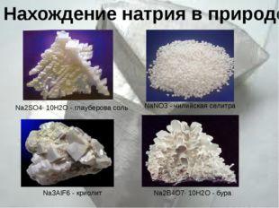 Na2SO4· 10H2O - глауберова соль NaNO3 - чилийская селитра Na3AlF6 - криолит Н