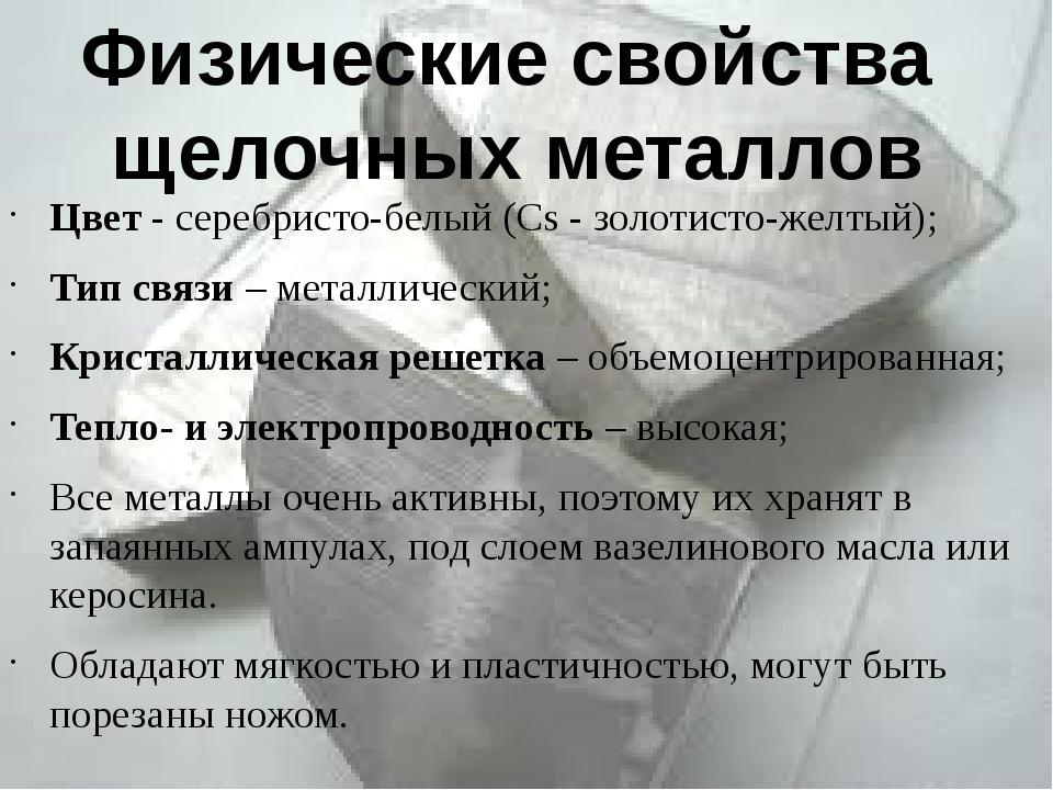 Цвет - серебристо-белый (Сs - золотисто-желтый); Тип связи – металлический; К...