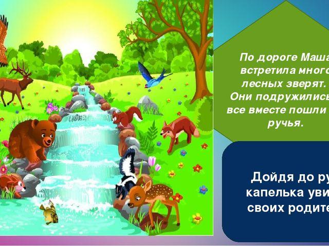 По дороге Маша встретила много лесных зверят. Они подружились и все вместе по...
