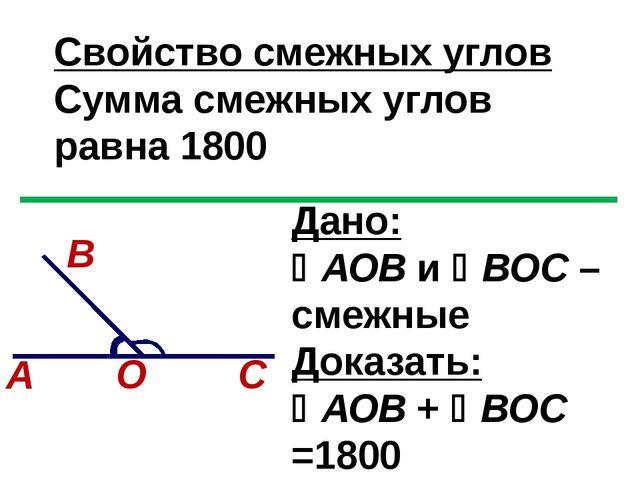 Свойство смежных углов Сумма смежных углов равна 1800 Дано: АОВ и ВОС – сме...