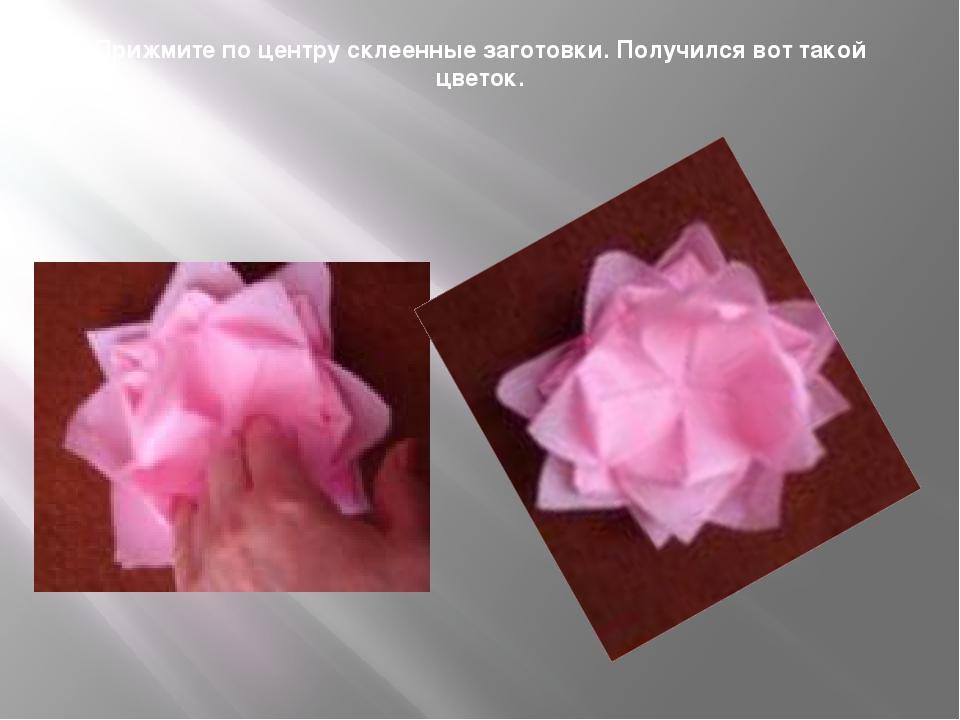 Прижмите по центру склеенные заготовки. Получился вот такой цветок.