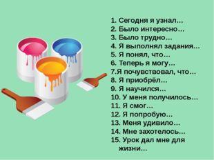 1. Сегодня я узнал… 2. Было интересно… 3. Было трудно… 4. Я выполнял задания