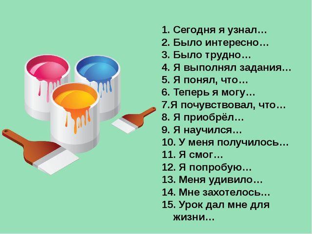 1. Сегодня я узнал… 2. Было интересно… 3. Было трудно… 4. Я выполнял задания...