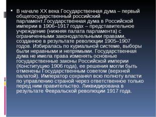 В начале ХХ века Государственная дума – первый общегосударственный российский