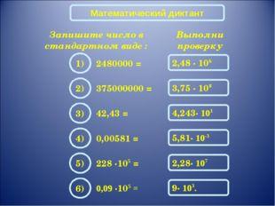 Математический диктант Запишите число в стандартном виде : 2480000 = Выполни