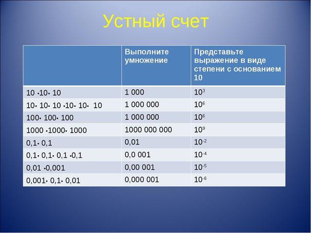 Устный счет 1010 = 10 10 10= 0,1 0,1= 0,10,10,10,1 · Выполните умножение Пр...