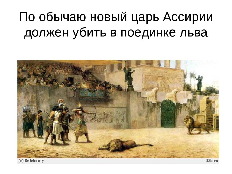 По обычаю новый царь Ассирии должен убить в поединке льва
