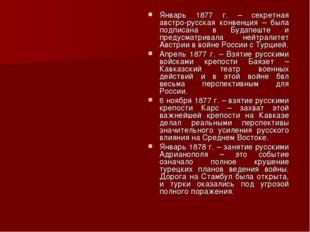 Январь 1877 г. – секретная австро-русская конвенция – была подписана в Будапе