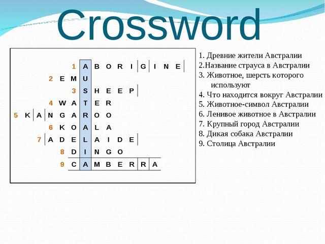 Crossword 1. Древние жители Австралии 2.Название страуса в Австралии 3. Живот...