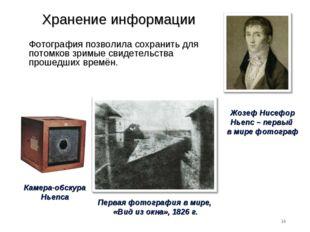Хранение информации Фотография позволила сохранить для потомков зримые свидет