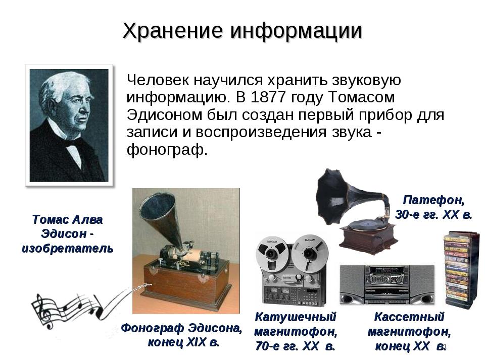 Хранение информации Человек научился хранить звуковую информацию. В 1877 году...