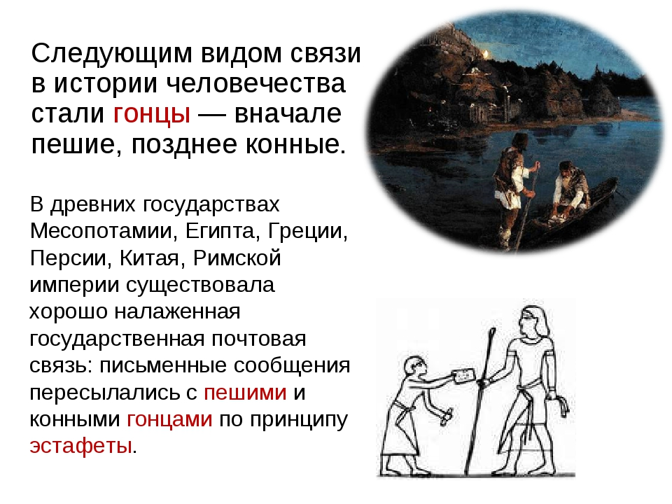 Следующим видом связи в истории человечества стали гонцы— вначале пешие, поз...