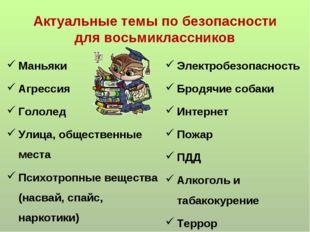 Актуальные темы по безопасности для восьмиклассников Маньяки Агрессия Гололед