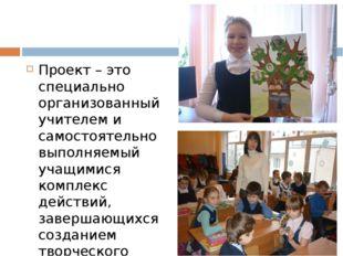Проект – это специально организованный учителем и самостоятельно выполняемый