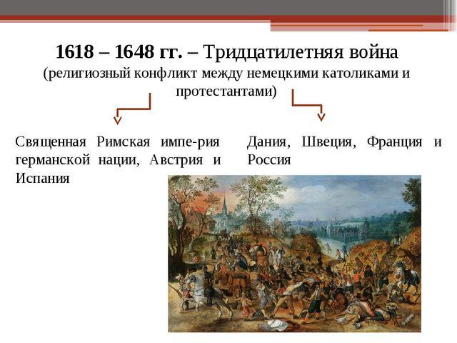1618 – 1648 гг. – Тридцатилетняя война (религиозный конфликт между немецкими...
