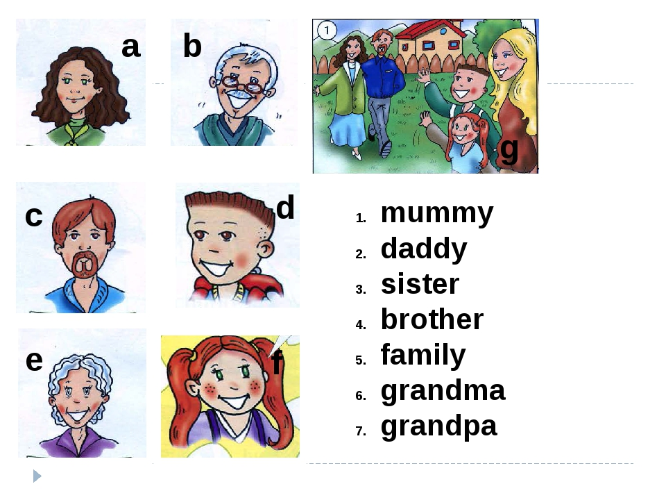 mummy daddy sister brother family grandma grandpa a b c d f e g