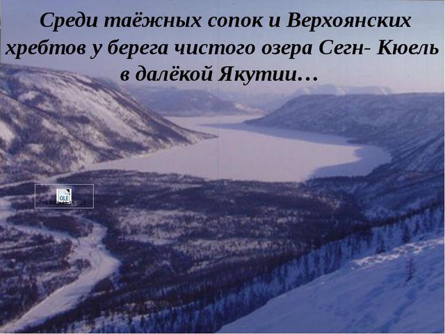 Среди таёжных сопок и Верхоянских хребтов у берега чистого озера Сегн- Кюель...