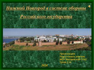 Нижний Новгород в системе обороны Российского государства Презентацию Подгото