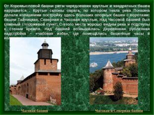 От Коромысловой башни ритм чередования круглых и квадратных башен нарушается