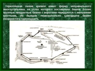 Укреплённая линия кремля имеет форму неправильного многоугольника, на углах к