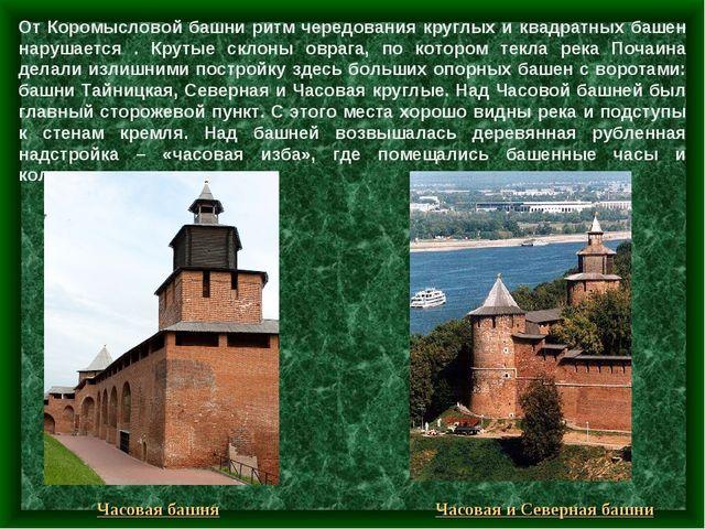 От Коромысловой башни ритм чередования круглых и квадратных башен нарушается...