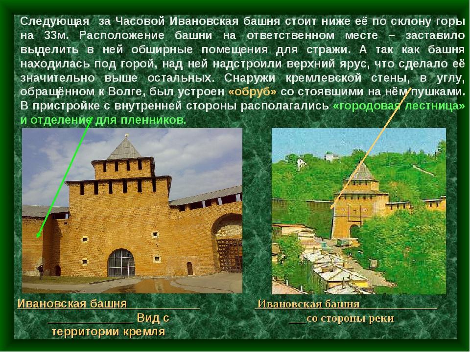 Следующая за Часовой Ивановская башня стоит ниже её по склону горы на 33м. Ра...