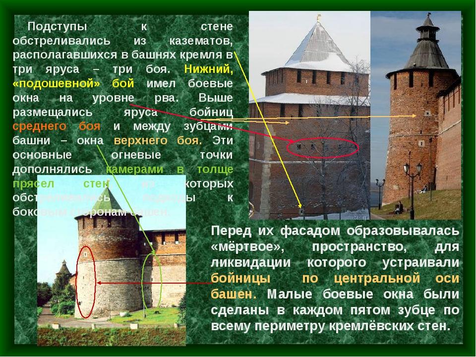 Подступы к стене обстреливались из казематов, располагавшихся в башнях кремля...