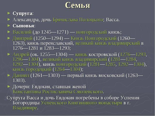 Семья Супруга: Александра, дочь Брячислава Полоцкого; Васса. Сыновья: Василий...