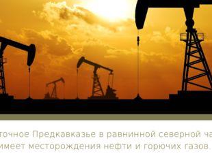 Восточное Предкавказье в равнинной северной части имеет месторождения нефти