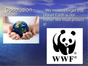 Conclusion We mustn't forget that planet Earth is our home! We must protect it!