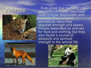 Animals Ever since true humans appeared on Earth, they have lived in close as