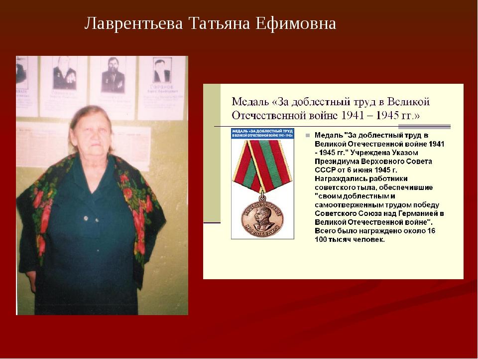 Лаврентьева Татьяна Ефимовна