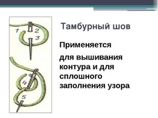 Тамбурный шов Применяется для вышивания контура и для сплошного заполнения уз
