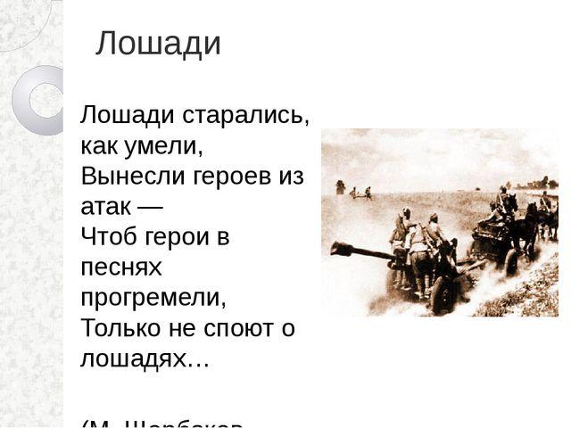 Лошади Лошади старались, как умели, Вынесли героев из атак — Чтоб герои в пес...